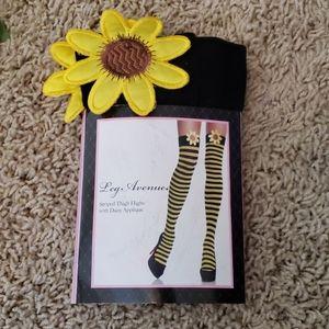 Halloween- Daisy Striped Thigh Highs